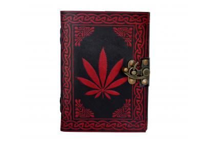 Leather Journal Diary with Instagram photo album Celtic Hand Crafted Green LeavesHandmade Paper