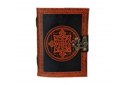 CELTIC KNOT Leather blank Journal embossed Book of Shadows Wicca Pagan Orange With Black Color Book
