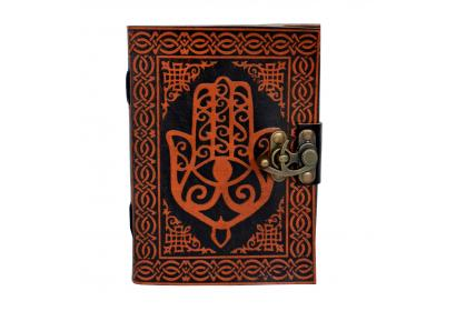 Leather Bound Journal With Strap - Hamsa Hand Personal Leather Writing Orange With Black Diary Note Book