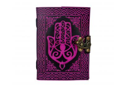 Hamsa Hand Personal Leather Writing Leather Bound Journal With Strap Red With Black Diary