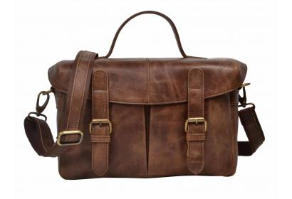 Professional Photographer DSLR Leather Camera Bag with Insert divider vintage messenger Bag leather shoulder Bag