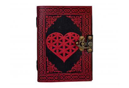 leather journal Love Heart Celtic Design Natural Looking Shadow Leather Journal