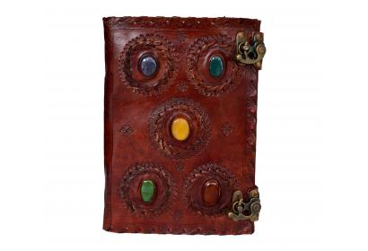 Real Brown Leather Handmade Diary Gods Eye Stone Journal Travel Blank Notebook
