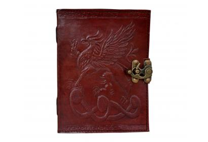 Handmade Leather Brown Notebook Journal Diary Un WELSH DRAGON Handmade  Paper