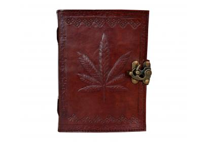 Brown Hemp Leaf Leather Journal - Grow Journal Diary Cannabis Marijuana Leaf