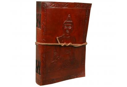 Handmade Fair Trade Indra Sitting Buddha Leather Journal Notebook Diary Handmade Leather Journal/Diary Travel Planners