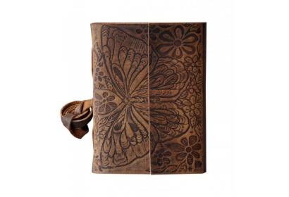 Soft Leather Embossed Beautiful Butterfly Design Bound Notebook & Sketchbook Handmade Leather Diary