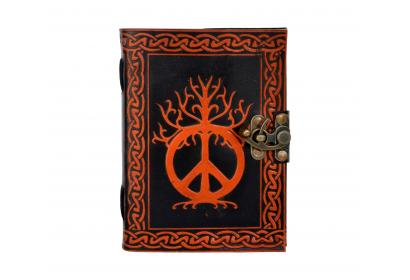 Piece Sign Shadow Handmade Leather Notebook Journal Diary Sketchbook Notepad