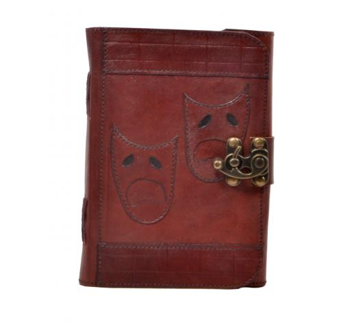 Handmade Antique Leather Journal Vector Theatrical Masks Journal Antique Diary & Notebook