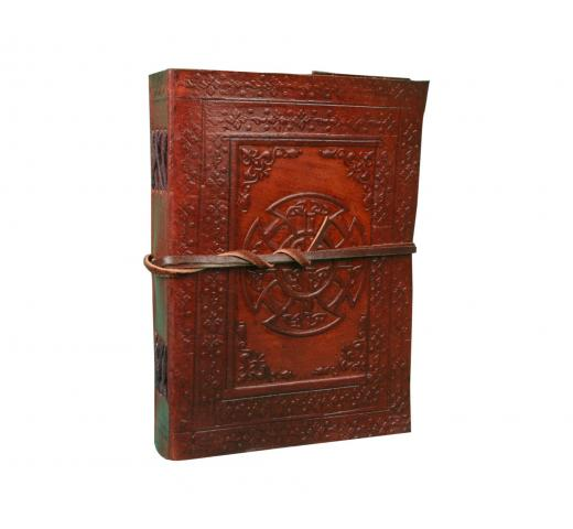 120 Page Vintage Crafts Mandala Embossed Leather  Unlined Journal Cotton Paper strap closure
