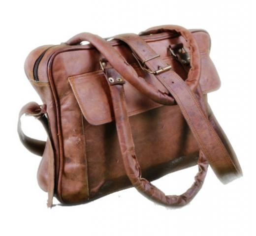 Genuine Goat Leather Men Laptop Shoulder Messenger Vintage Briefcase Bag