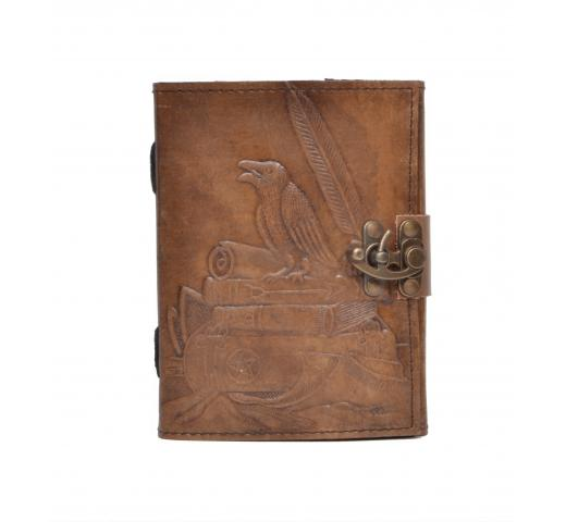 New Charcoal Colour Genuine Handmade Crow Embossed Vintages Blank Paper Notebook Leather Journal Diary