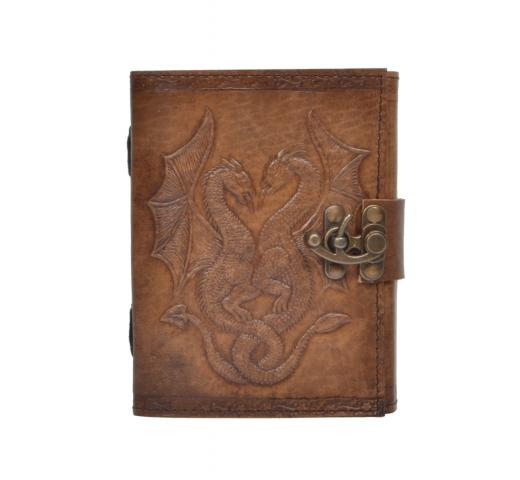 New Vintage Handmade Double Dragon Embossed Vintages Blank Paper Notebook Leather Journal Diary