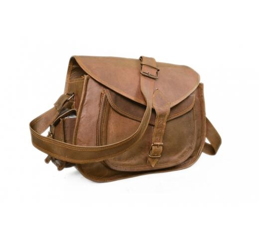 NEW Handmade Natural Brown Pure Goat Leather Vintage Messenger Women Bag