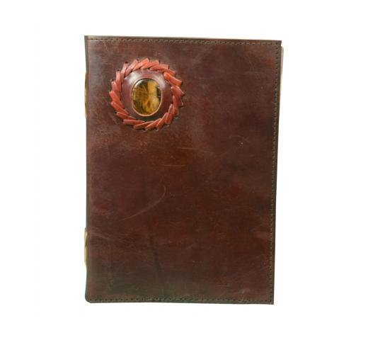Leather Journal Distressed Leather Handmade Notebook Tiger Eye Stone Diary Sketchbook Travel Blank Book Brown