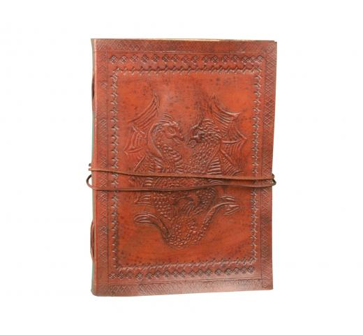 Beautiful Leather Journal Diary Notebook Sketchbook With Blank Paper Notebook Double Dragon Leather Blank Book
