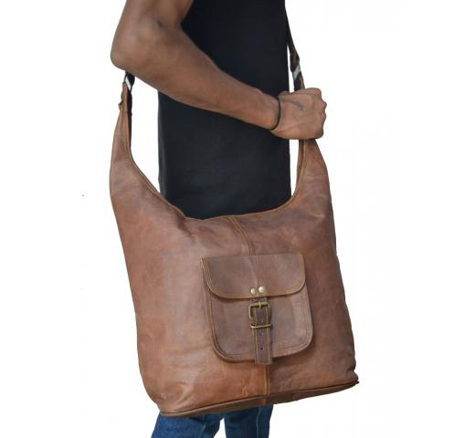 NEW Handmade Natural Brown Pure Goat Leather Vintage Messenger Bag Women Purse