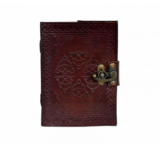 Celtic Shadow Tooled Hamsa Hand Leather Embossed Journal dairy