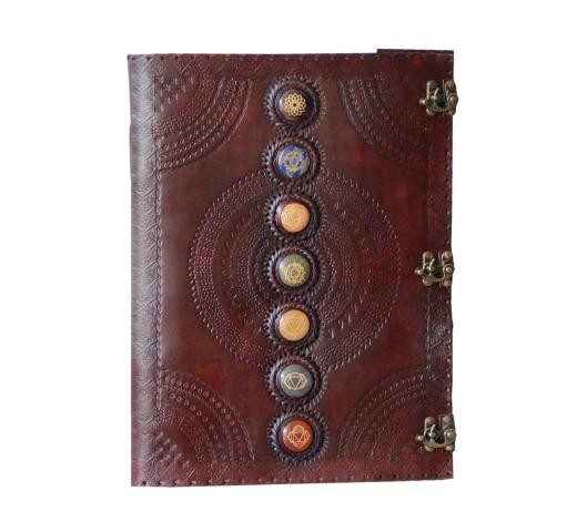 Leather Journal Book Seven Chakra Medieval Stone Embossed Handmade Book Of Shadows Notebook Office Diary College Book Poetry Book Sketch Book