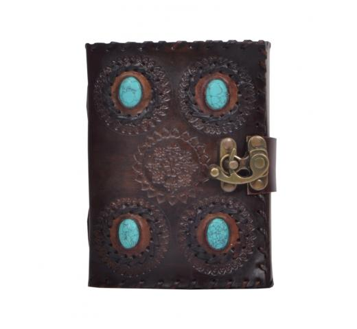 Handmade Genuine New Fashion Leather Store  Present 4 Stone Leather Journal With Side Stitching Notebook
