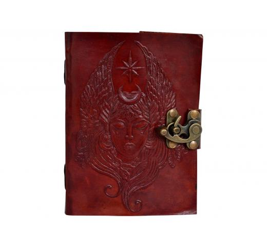 Moon Goddess Embossed Leather Journal Blank 120 Handmade Paper Dairy Book