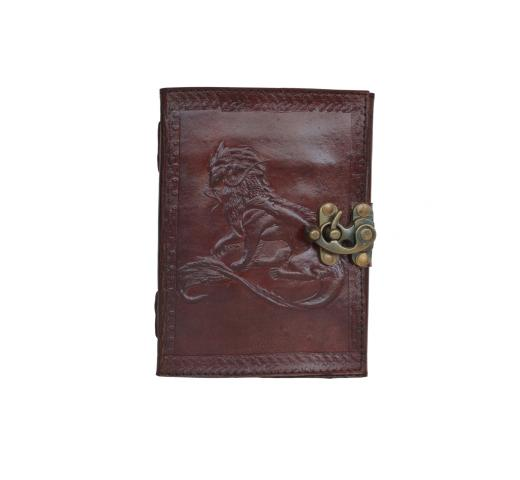 Handmade celtic dradon embossed leather journal diary with leather strap closure C-Lock