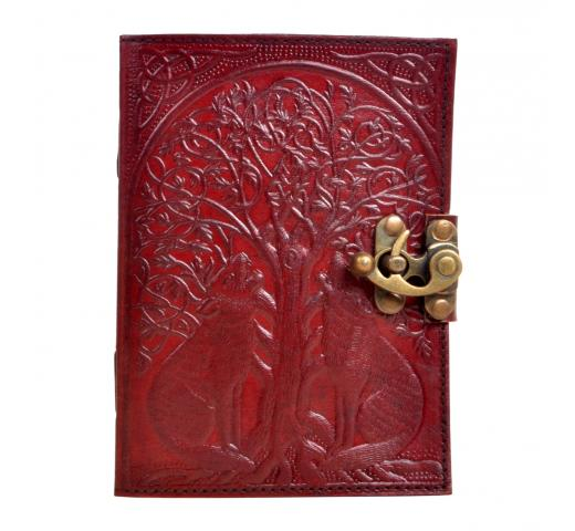 New Handmade leather journal wolf tree diary leather journal notebook Embossed Journal