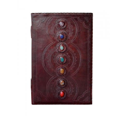 Handmade Leather Journal Embossed  7 Chakra Medieval Stone Leather Journal Notebook