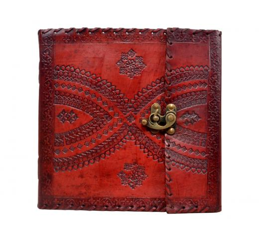 Vintage Handmade Embossed Leather Journal C-Lock Leather Journal Diary