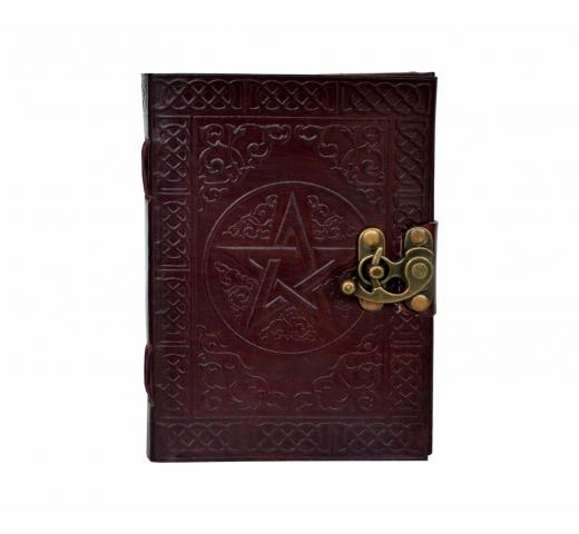 PENTAGRAM LEATHER JOURNAL HANDMADE BLANK BOOK OF SHADOWS W/ LOCK Wicca PENTACLE DAIRY