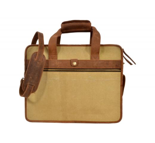 Retro Crazy Horse Cowhide and Canvas Shoulder Bag Genuine Leather Messenger Bag
