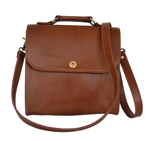 Leather Satchel Shoulder Bag Work Tote Bag with Shoulder Strap Bag Design Brown Buffalo