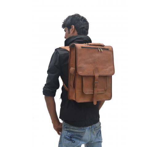 vintage leather backpack Gym Bag