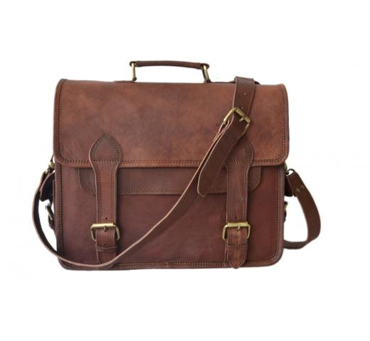 Men Briefcase Goat Leather Laptop Shoulder Bag Office Messenger Tote