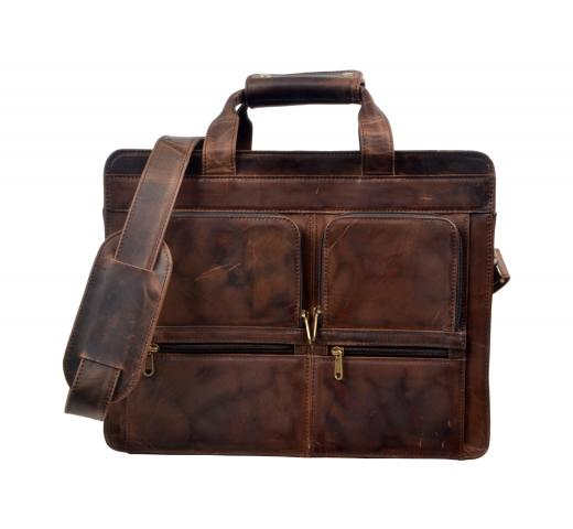 Men Crazy Horse Leather Laptop Bag Briefcase Shoulder Attache Messenger Collage Bag