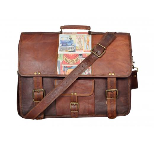 Real Goat Leather Padded Office Briefcase