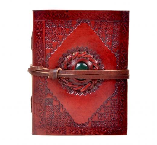 Handmade new embossed  leather journal single stone notebook & diary