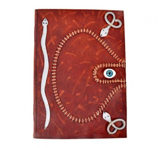 Handmade antique paper leather journal god eyes look tripple snakes leather diary & sketchbook