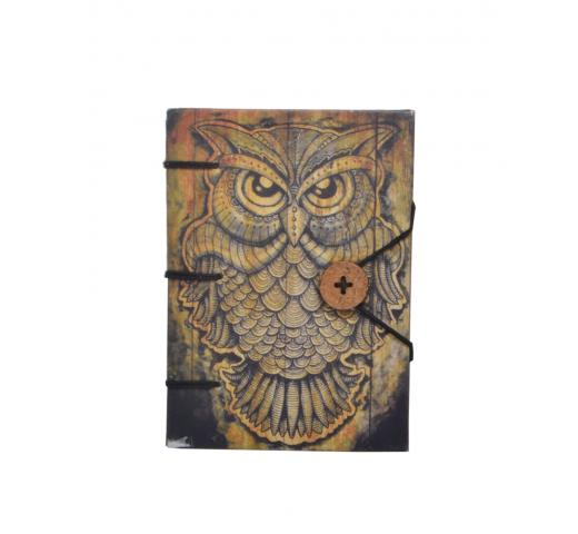 Hardcover Travel Diary with Beautiful Owl Design Hard Paper Didital Print, Small Sized, Handmade Notebook Writing Journal for Unisex | Ruled Premium Paper - 120 Pages