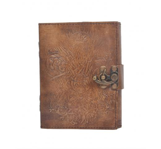 Handmade Vintage New Antique Design Devil Animals Embossed Leather Journal Notebook Charcoal Color Journals 7x5 Inches Notebook