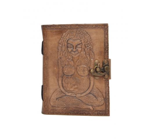 Handmade genuine Leather Journal New Design Charcoal Color Mother Goddess Embossed Notebook