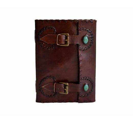 Handmade Leather Journal Dairy With Brass Buckle And Beautiful Stone Leather Blank Book