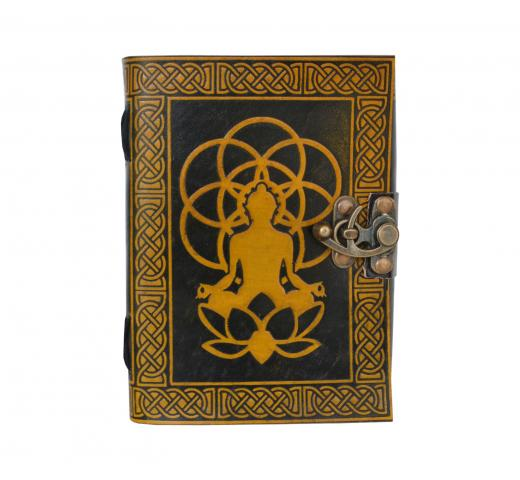Budha Celtic Book of Shadow Leather Journal Blank Book Note Book Dairy Yellow with Black B