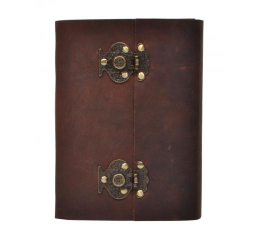 New Genuine Brown Color Leather Journal New Brass Lock Leather Diary Unlined Paper Notebook