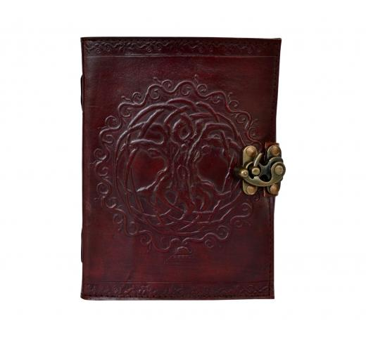 Oberon Design Leather Journal Notebook Holder Cover Tree of Life Celtic Brown