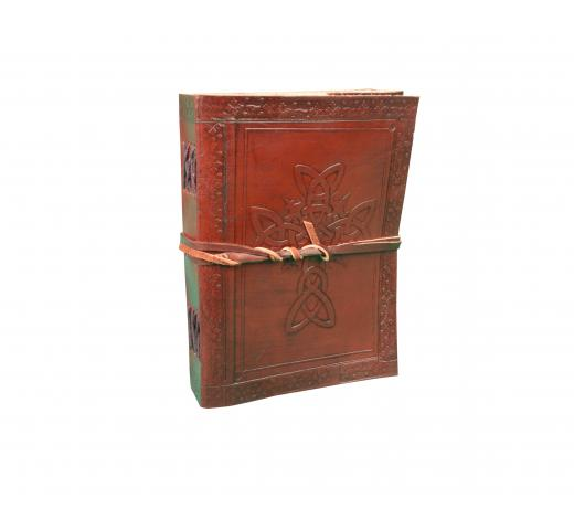 Celtic Leather Bound Journal Cross Embossed Leather Journals Handmade Paper Brown Leather Diary India